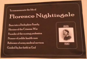 Temporary plaque in honour of Florence Nightingale at Derby Cathedral